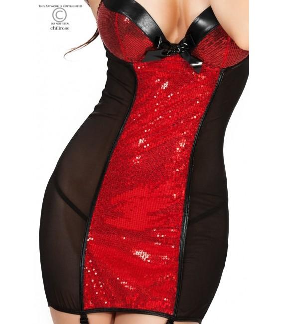 Babydoll CR4001 schwarz/rot Bild 3