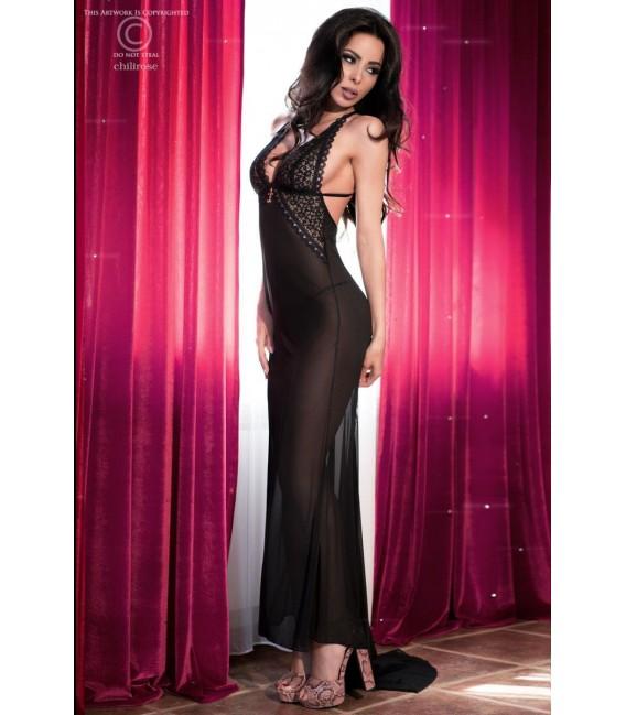 Langes Kleid CR4064 schwarz/pink
