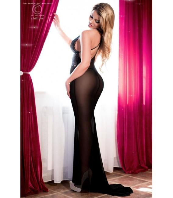 Langes Kleid CR4064 schwarz/pink Bild 5