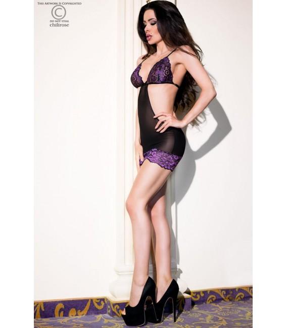 Babydoll CR4076 schwarz/violett Bild 3