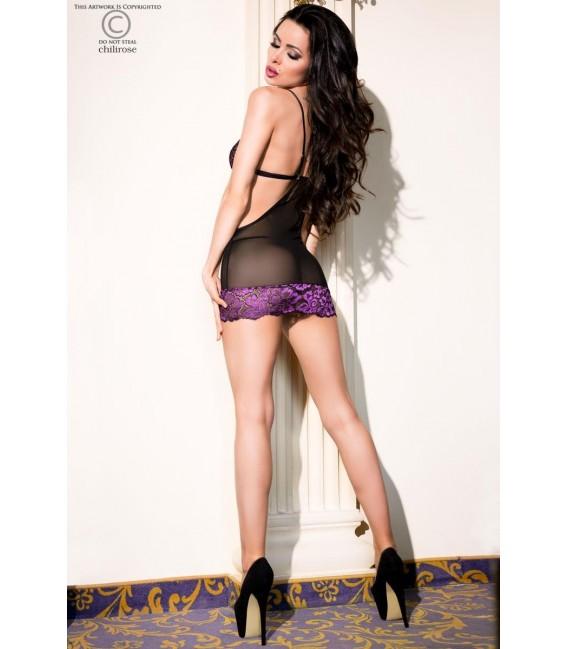 Babydoll CR4076 schwarz/violett Bild 4