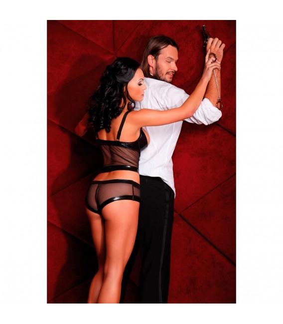 Sexy schwarzes Lack-Set Lenza aus Panty und Hebetop von Bassaya Dessous Bild 2 Großbild