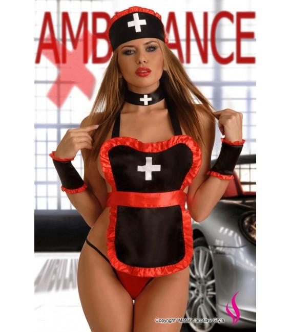 Sexy schwarz rotes Krankenschwester Outfit Devil Nurse Bild 2