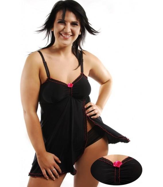 schwarzes Babydoll Margeritta M/1019 von Andalea Dessous Großbild