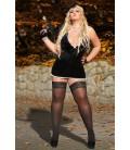 schwarzes Wetlook-Kleid S/3029 Edit von Andalea Dessous