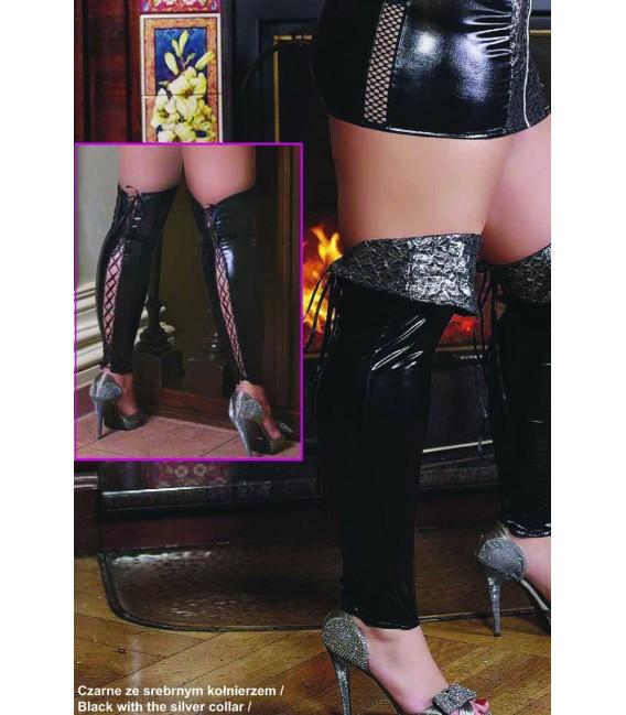 schwarze Wetlook Beinstulpen S/3046 mit silbernen Kragen von Andalea Dessous Bild 2