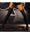 schwarze Wetlook Strapsstrümpfe Warm Up von Lolitta Dessous