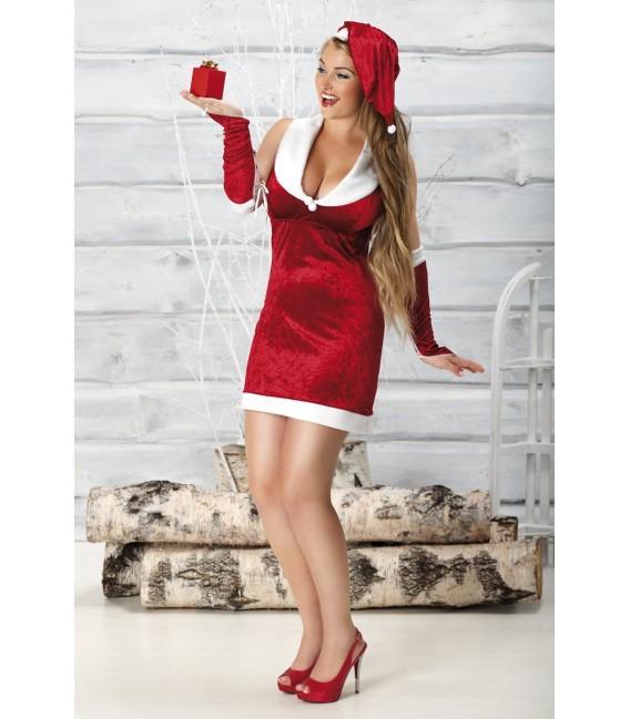 rotes Weihnachtskleid Snow White mit Armstulpen und Mütze von Andalea Dessous Großbild