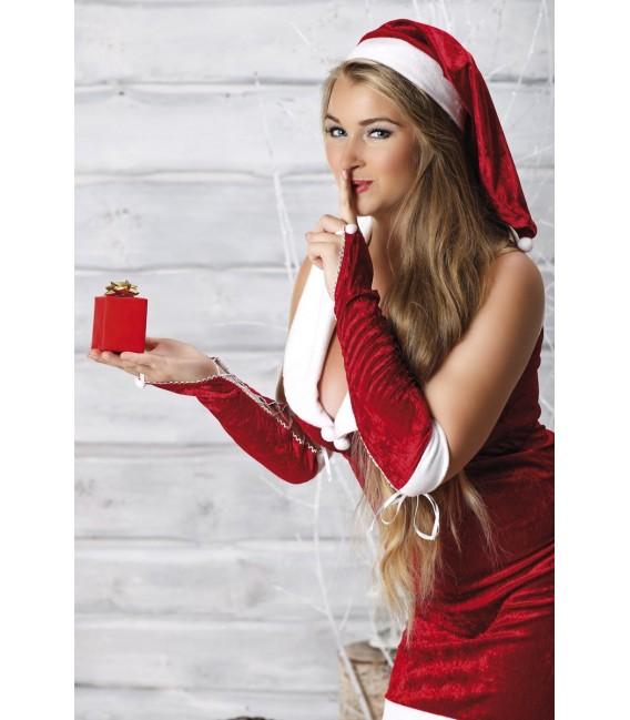 rotes Weihnachtskleid Snow White mit Armstulpen und Mütze von Andalea Dessous Bild 2 Großbild