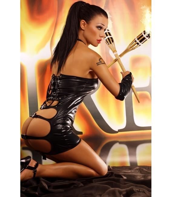 schwarzes Wetlook Kleid Fire mit String von Lolitta Dessous