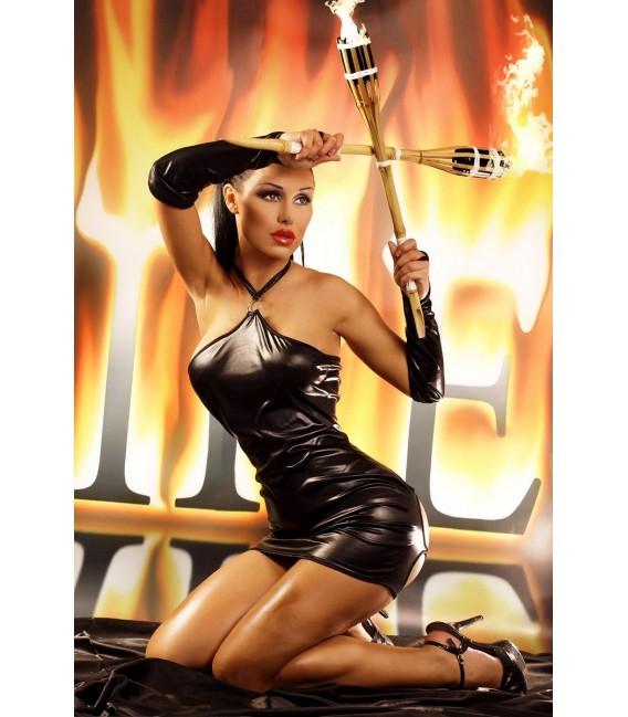 schwarzes Wetlook Kleid Fire mit String von Lolitta Dessous Bild 2 Großbild