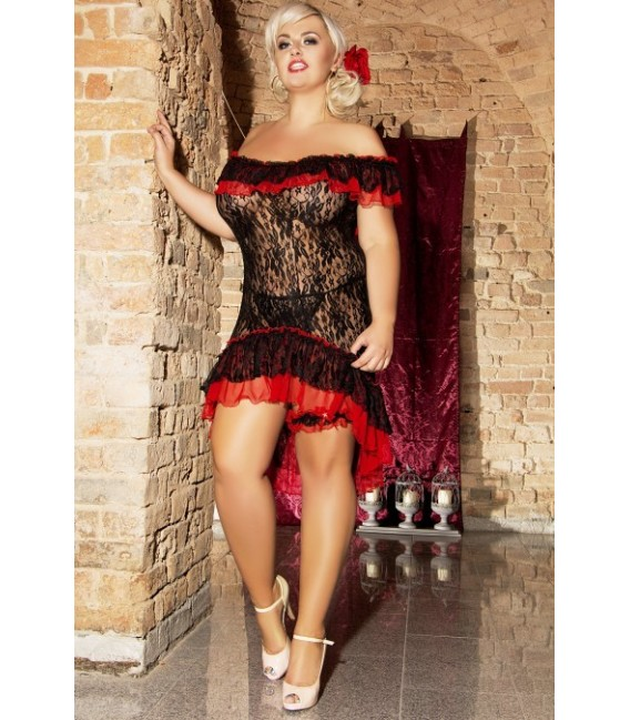 schwarzes Babydoll S/3018 Flamenco mit T-String von Andalea Dessous Großbild