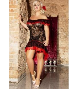 schwarzes Babydoll S/3018 Flamenco mit T-String von Andalea Dessous