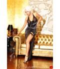 schwarzes langes Kleid Romance Divino mit T-String von Provocative Dessous