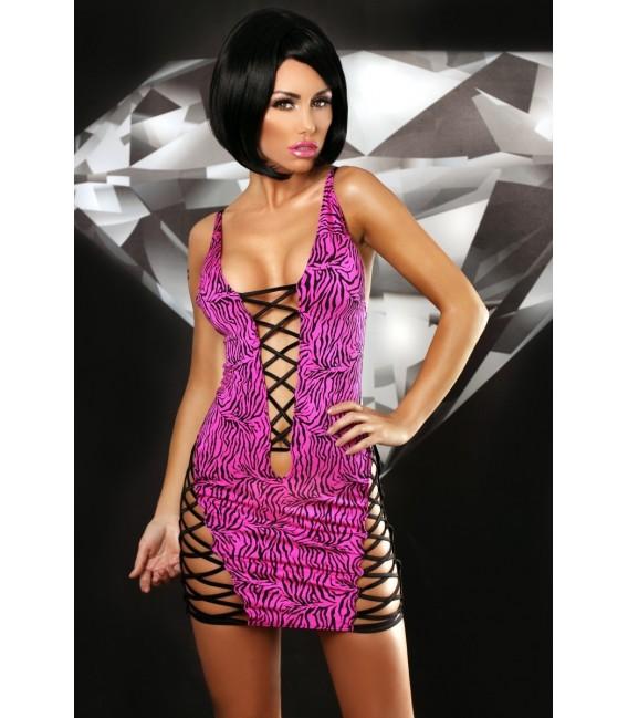schwarz pinkes Minikleid Zebra von Lolitta Dessous Großbild