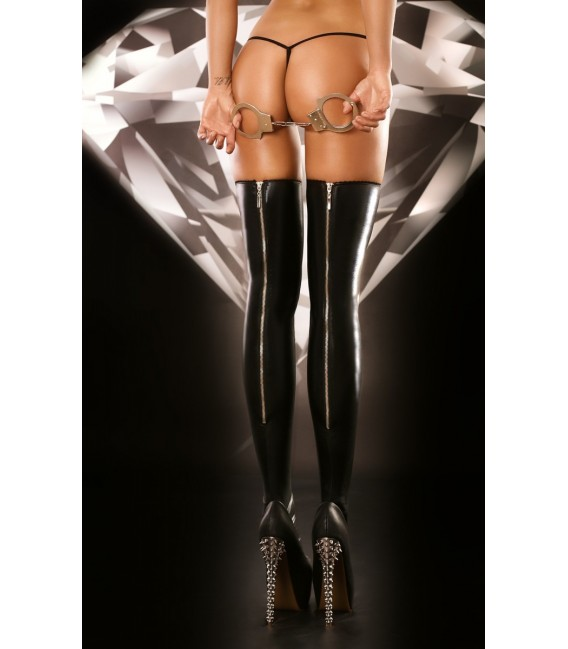 schwarze Wetlook Strümpfe Rock mit hinteren Reißverschluß von Lolitta Dessous Großbild