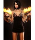schwarzes Nachtkleid Dangerous mit Hals und Armfessel von Lolitta Dessous