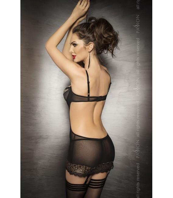 schwarzes Straps-Kleid Ceres von Passion exclusiv Dessous Großbild
