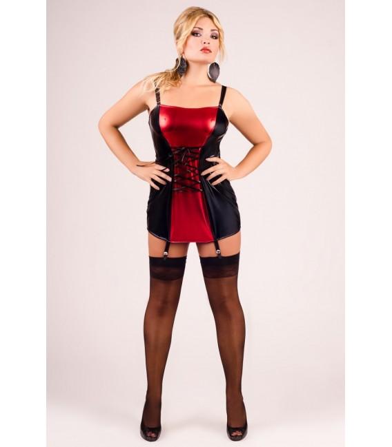 schwarz/rotes Strapshemd M/1024 von Andalea Dessous Großbild