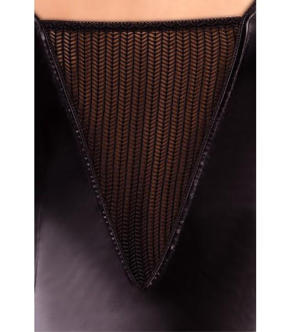 schwarzes Wetlook Strapshemd M/1027 von Andalea Dessous Großbild
