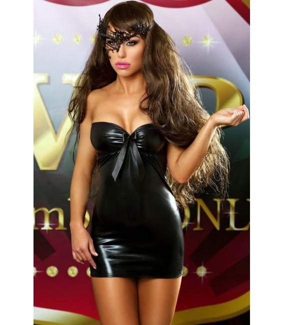 schwarzes Wetlook Kleid Bows Dress von Lolitta Dessous