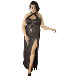 langes goldenes Wetlook-Kleid C/4003 von Andalea