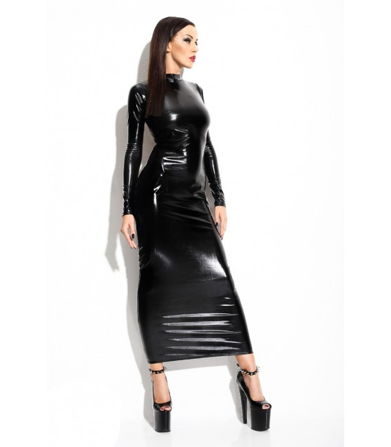 langes schwarzes Wetlook-Kleid Dorothea von Demoniq ...