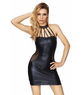 schwarzes Wetlook-Kleid Marica von 7-Heaven