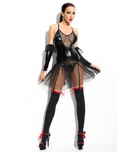 schwarzes Straps-Kleid Yvone von Demoniq Mistress Collection