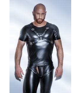 schwarzes Powerwetlook T-Shirt Harness Style H041 von Noir Handmade
