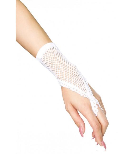 Netzhandstulpen kurz weiß