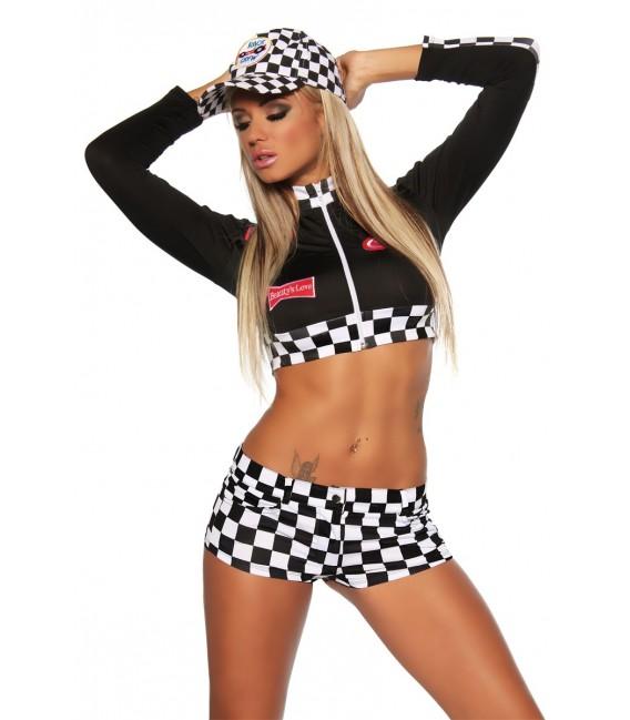 Racing-Hot-Pants-Set schwarz/weiß