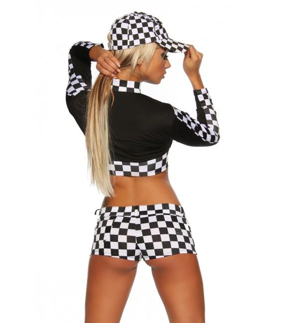 Racing-Hot-Pants-Set schwarz/weiß Bild 2