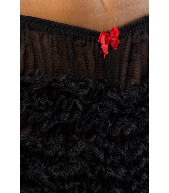 Rüschen-Panty nostalgisch im Burlesque-Stil schwarz