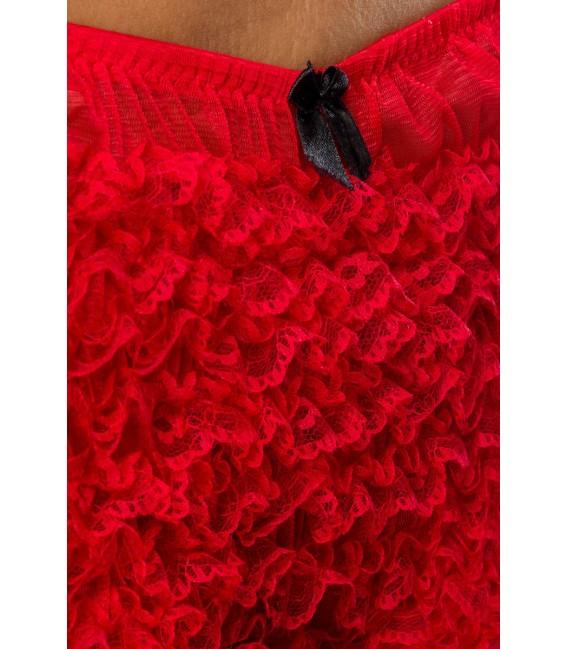 Rüschen-Panty nostalgisch im Burlesque-Stil rot