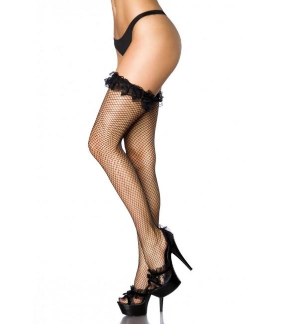Netz-Stockings mit Rüschen schwarz Bild 2