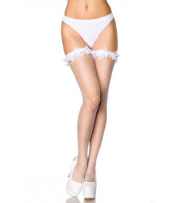 Netz-Stockings mit Rüschen weiß