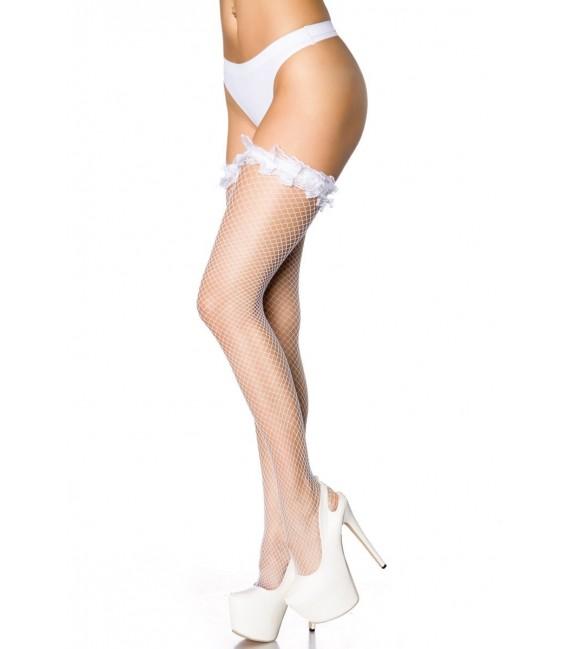 Netz-Stockings mit Rüschen weiß Bild 2
