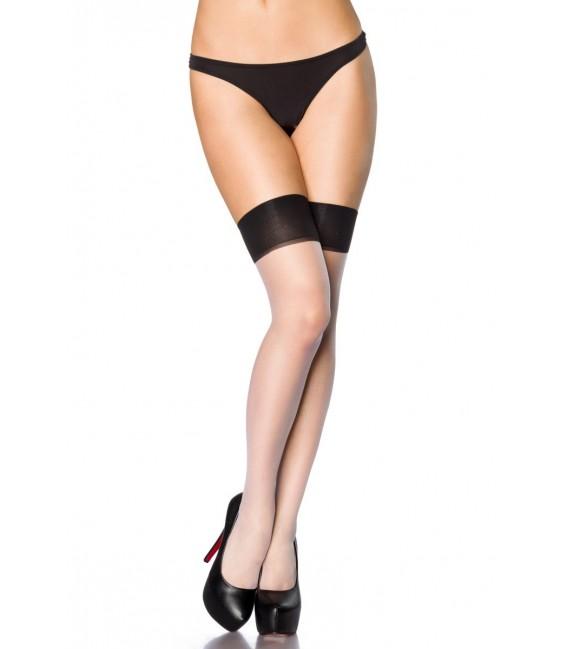 Stockings mit Naht weiß/schwarz Bild 2