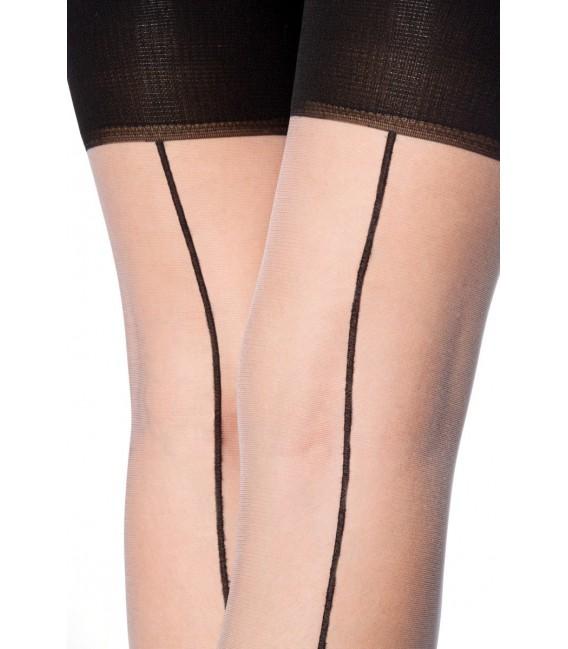 Stockings mit Naht weiß/schwarz Bild 5