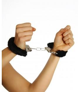 Handschellen mit Plüsch schwarz - AT11526