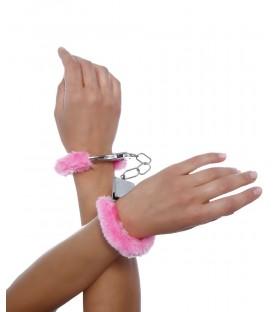 Handschellen mit Plüsch rosa - AT11526