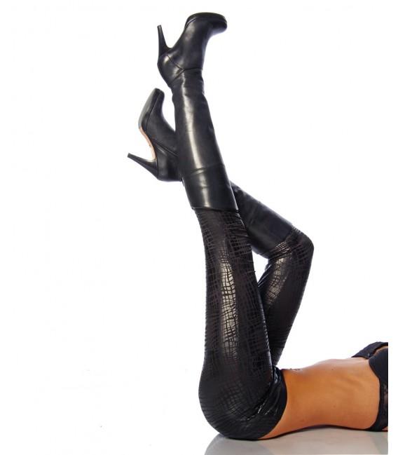 leicht glänzende Leggings im Kroko-Look Bild 2