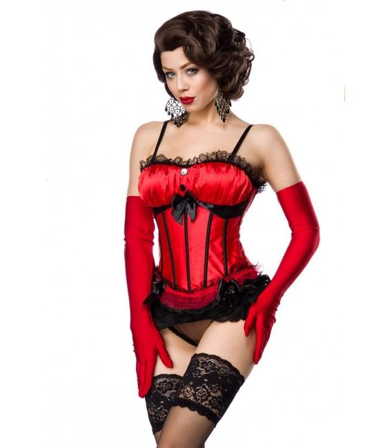 Reizvolle Burlesque-Corsage in rot/schwarz