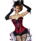 Burlesque-Satin-Corsage rot/schwarz - AT11940