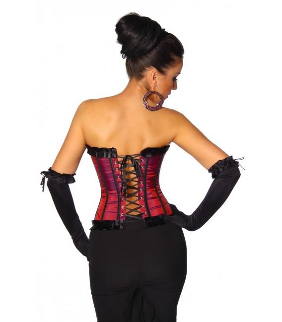Burlesque-Satin-Corsage in rot/schwarz Bild 2