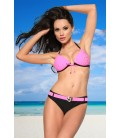 Push-Up-Bikini schwarz/rosa - AT12008