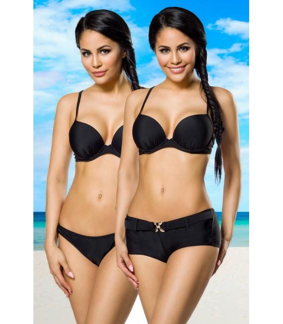 Push-Up-Bikini-Set in schwarz mit Höschen und Panty