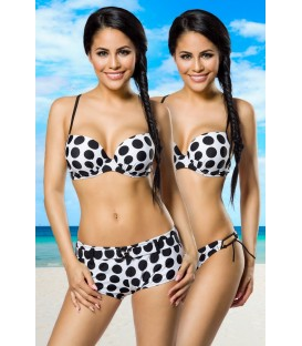 Push-Up-Bikini-Set weiß/schwarz - AT12029