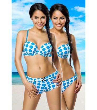 Push-Up-Bikini-Set weiß/türkis - AT12029